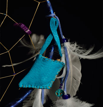 Dream Weaver, 2015 Custom Dreamcatcher w/ Sweet Grass, Medicine Bag & Found Feathers