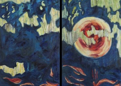 In the Beginning, Diptych,  2008, Oil on Canvas, 96 x 72 in, NFS